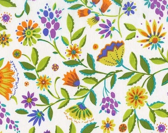 Melodies Folk Floral Jewel Fabric by Michael Miller