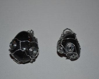 Black Onyx Wire Wrap Necklace (ONE)