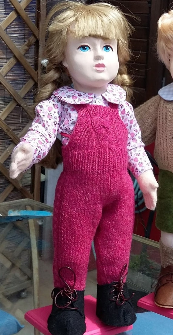 Handknitted bib overall for 18 inch dolls
