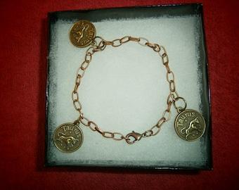 Taurus zodiac bronze chain charm bracelet