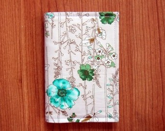 Passport Cover-Print Green Flowers Cotton Fabric