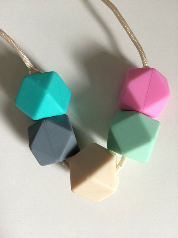 Pastel Teething Necklace - Baby Teether Necklace