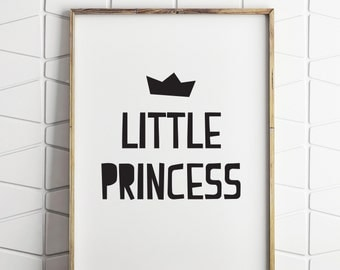 little princess nursery wall decor, nursery princess decor, baby girl nursery decor, baby girl printable, printable princess