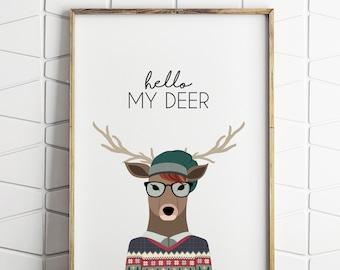 deer wall art decor, deer wall art, deer wall decor, deer printable, hipster deer, deer illustration, deer nursery decor
