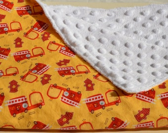 Fire Engine Baby Blanket, Minky Blanket, Fire Fighters and Firetrucks Blanket