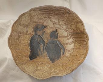 "Stoneware ""Penguins"" platter with ash glaze"