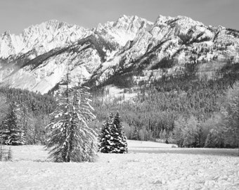Black and White Mountains Photography, Winter Photography, Photography Print, Winter Mountains Print