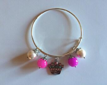 Princess Bangle Bracelet, Pink Princess Bangle Bracelet, Charm Bangle Bracelet, Adjustable Bangle Bracelet, Adult Princess Jewelry, Bracelet