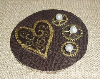 steampunk heart and gears barrette