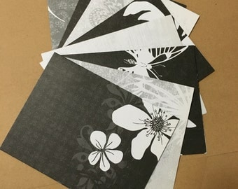 Black and white blank notecards w/envelopes set of 8