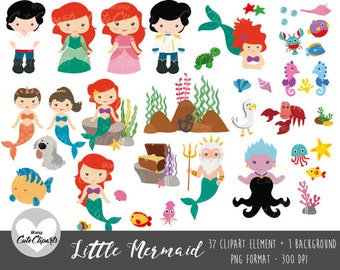 50% OFF SALE Little Mermaid clipart-Little Mermaid Digital Clip Art-Princess Little Mermaid Prince-Fairytale Princess Clipart-Little Mermaid