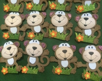 3.5 inches 3D Foam Monkeys 12 PCS, Safari animals, Safari Theme party, Safari baby shower #8014