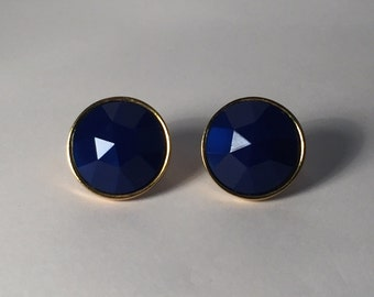 Vintage Earrings Royal Blue and Gold tone button clip on earrings.