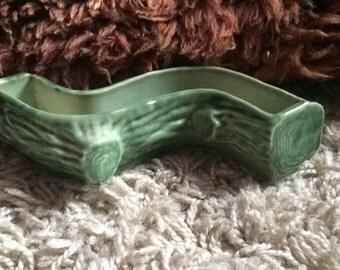 Vintage Wade Textured Green Log Vase