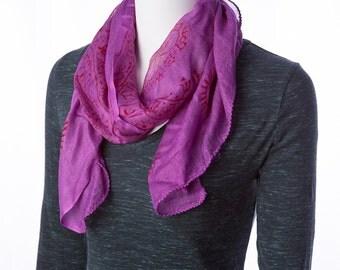om yoga meditation scarf purple & red