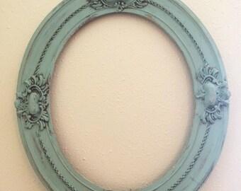 Vintage Blue Oval Frame