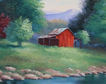Red Barn by River in Oils, Red Barn Painting, Barn by the River, Wall Art, Home Decor
