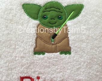 Star Wars Yoda Custom Embroidered Towel