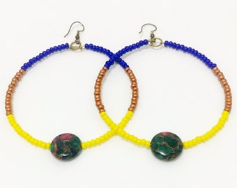 Brilliant Beaded Hoops (Blue, Bronze and Yellow)