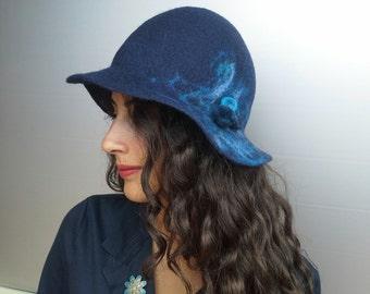 Felt hat, hat, hat with merino wool roof, Ocean