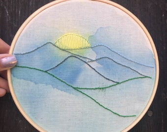Mountains Hand Embroidered Hoop Art // Fiber Art // Hand Embroidery // Watercolor // Gifts for Her // Gifts for Him //