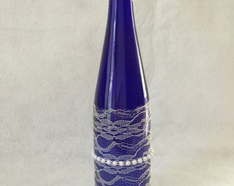 Cobalt Blue Wine Bottle Decorated with Lace and Pearls