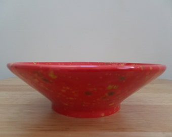 Red, Yellow and Green Glazed Ceramic Bowl