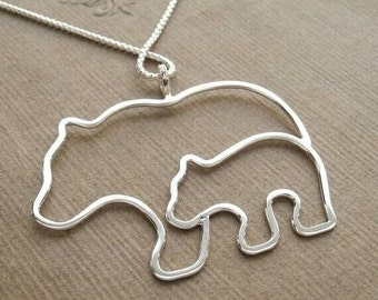 Mother bear with cub pendant with necklace