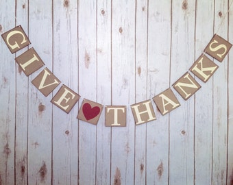 GIVE THANKS BANNER, give thanks sign, thanksgiving decorations, thanksgiving banner, fall decorations, fall banner, thanksgiving mantle
