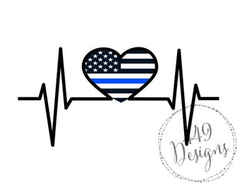 Nurse EKG Supporting Police Wife and Law Enforcement Thin Blue Line Vinyl Decal