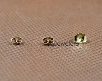 10K Yellow Gold Earring Backs Friction Earnuts Butterfly Earring Back Earback Pair NEW!