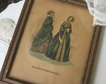 Vintage Godey's Fashion Print in wooden frame