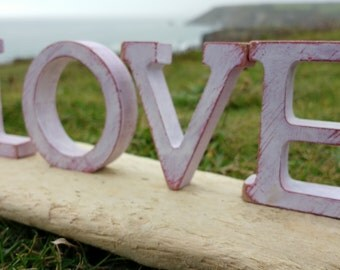 Handmade Driftwood LOVE decoration - crafted from locally sourced driftwood here in Cornwall