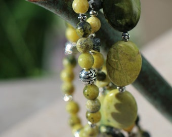 """Beautiful Yellow """"Turquoise"""" Seven Inch Three-Bracelet Stack"""