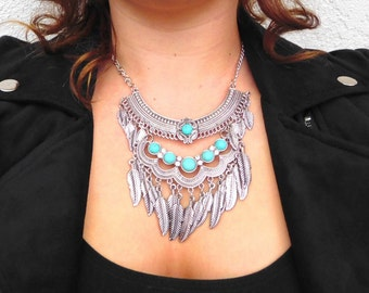 Silver Blue Stone Chunky Tribal Leaf Necklace