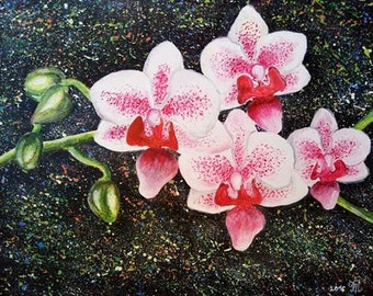 "Floral painting, Orchid painting, flowers pinting, Acrylic on watercolor paper 11""x14"", Hand painted artwork."