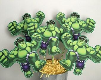 Super Hero Squad  Hulk Set of 5 Centerpiece Picks ( Double-sided)