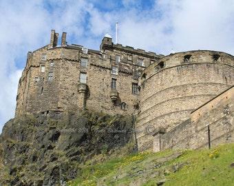 Edinburgh Castle II- Scotland, Castle, Scotland, Edinburgh, History, Stonewall, Cliffs, Green, , Grass, Blue, Trees