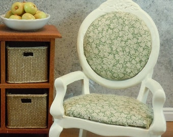 Dollhouse Miniature furniture, off white chair with green print fabric. Item #106.
