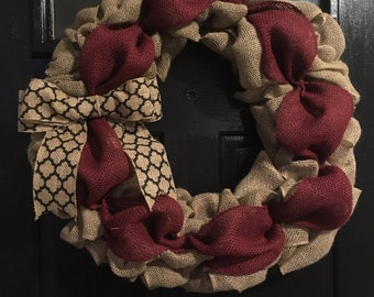 Maroon, Green, Circle, Multiple Size, Burlap, Wreath