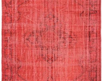 Vintage Distressed Rugs Handmade Vermilion Rug, Vermilion Red, Red Rug,  Hand Woven Rug