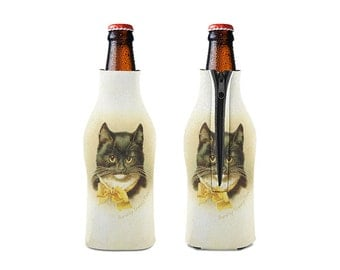Dorothy Travers Pope and Cat-4 Zipper Style Beer Bottle Coozies / bottle beverage insulator , Cozies (KB-051)