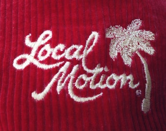 Corduroy Local Motion Hat - Vintage Red Corduroy Retro Hawaii Surfer Island Palm Tree Cap