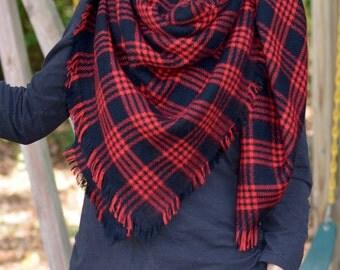 Red & Black Plaid Blanket Scarf