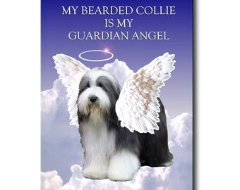 Bearded Collie Guardian Angel Fridge Magnet