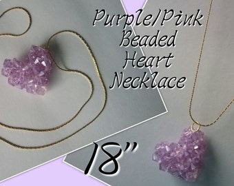 Purple & Pink Beaded Heart Necklace