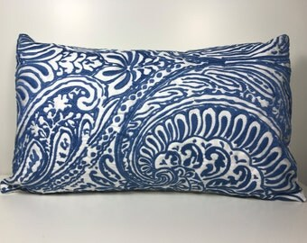 Blue Pattern Pillow Cover Size 12x18 Decorative Pillow Cover