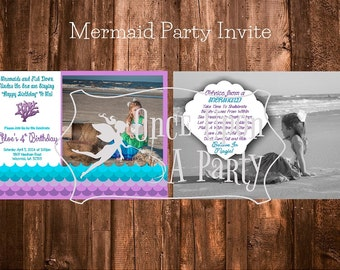 Mermaid party invite - double sided