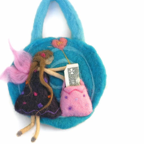 Items similar to needle felted tooth fairy pillow door for Tooth fairy door ideas