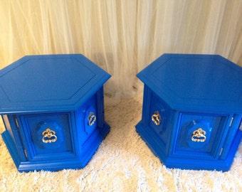 Set of 2 Cobalt Blue Octagonal side tables